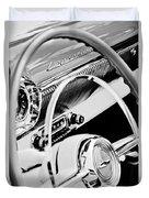 1954 Chevrolet Belair Steering Wheel Emblem -1535bw Duvet Cover