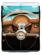 1954 Chevrolet Corvette Convertible  Steering Wheel Duvet Cover by Jill Reger
