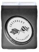 1954 Chevrolet Corvette Emblem -052bw Duvet Cover