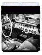 1954 Chevrolet Corvette Interior Black And White Picture Duvet Cover