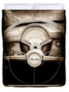 1954 Chevrolet Corvette Steering Wheel Emblem Duvet Cover