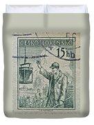 1954 Czechoslovakian Construction Worker Stamp Duvet Cover