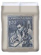 1954 Czechoslovakian Scientist Stamp Duvet Cover