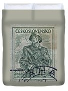 1954 Czechoslovakian Soldier Stamp Duvet Cover