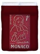 1954 De La Salle Monaco Stamp Duvet Cover