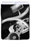 1954 Mg Tf Steering Wheel Emblem -0920bw Duvet Cover