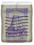 1956 Devils Tower National Monument Stamp Duvet Cover