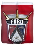 1956 Ford Fairlane Emblem Duvet Cover