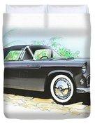 1956 Ford Thunderbird  Black  Classic Vintage Sports Car Art Sketch Rendering         Duvet Cover