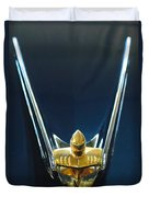 1956 Lincoln Premiere Convertible Hood Ornament Duvet Cover