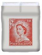1956 Queen Elizabeth New Zealand Stamp Duvet Cover