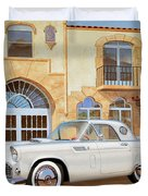 1956 Thunderbird At Palm Beach  Classic Vintage Ford Art Sketch Rendering          Duvet Cover
