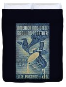 1957 America And Steel Growing Together Stamp Duvet Cover