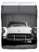 1957 Chevrolet Corvette -0010bw Duvet Cover