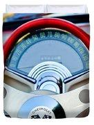 1957 Chevrolet Corvette Convertible Steering Wheel Duvet Cover