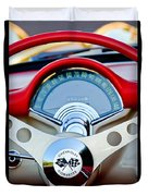 1957 Chevrolet Corvette Convertible Steering Wheel Duvet Cover by Jill Reger