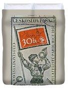 1957 Czechoslovakia Stamp Duvet Cover