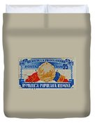 1957 Romanian Coat Of Arms And Flags Stamp Duvet Cover