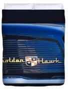 1957 Studebaker Golden Hawk Supercharged Sports Coupe Emblem Duvet Cover