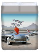 1957 Thunderbird  With F-84 Gunmetal Vintage Ford Classic Art Sketch Rendering           Duvet Cover