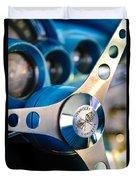 1958 Chevrolet Corvette Steering Wheel Duvet Cover by Jill Reger
