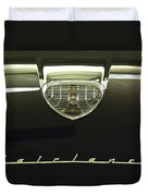 1958 Ford Fairlane 500 Victoria Hood Ornament Duvet Cover by Jill Reger