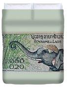 1958 Laos Elephant Stamp II Duvet Cover
