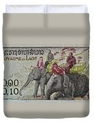 1958 Laos Elephant Stamp IIi Duvet Cover