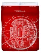 1958 Space Satellite Structure Patent Red Duvet Cover