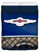 1959 Aston Martin Jaguar C-type Roadster Hood Emblem Duvet Cover