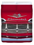 1959 Chevrolet Grille Ornament Duvet Cover by Jill Reger