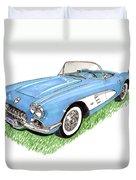 1959 Corvette Frost Blue Duvet Cover