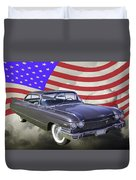 1960 Cadillac Luxury Car And American Flag Duvet Cover