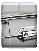 1960 Chevrolet Impala Emblem -340bw Duvet Cover