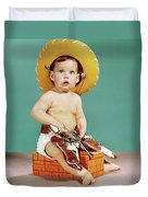 1960s Baby Wearing Cowboy Hat Duvet Cover