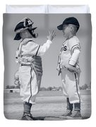 1960s Boy Little Leaguer Pitcher Duvet Cover