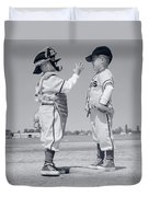 1960s Boy Little Leaguer Pitcher Duvet Cover