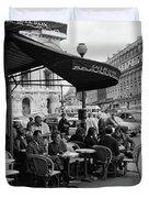 1960s Patrons At Cafe De La Paix Duvet Cover by Vintage Images