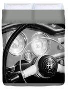 1961 Alfa Romeo Giulietta Spider Steering Wheel Emblem -1239bw Duvet Cover