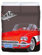 1961 Corvette Convertible Duvet Cover