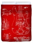 1961 Fender Guitar Patent Artwork - Red Duvet Cover