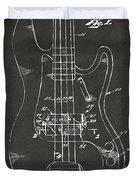 1961 Fender Guitar Patent Minimal - Gray Duvet Cover by Nikki Marie Smith