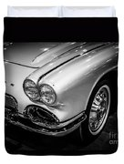 1962 Chevrolet Corvette Black And White Picture Duvet Cover