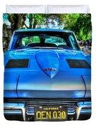 1963 Blue Corvette Stingray-front View Duvet Cover
