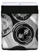 1963 Chevrolet Corvette Split Window Steering Wheel Emblem -170bw Duvet Cover