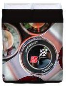 1963 Chevrolet Corvette Split Window Steering Wheel Emblem -170c Duvet Cover