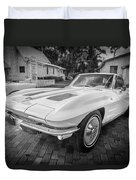 1963 Chevy Corvette Coupe Painted Bw    Duvet Cover