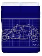 1963 Volkswagon Beetle Blueprint Duvet Cover