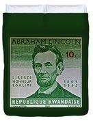 1965 Rwanda Abraham Lincoln Stamp Duvet Cover