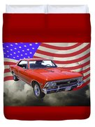 1966 Chevy Chevelle Ss 396 And United States Flag Duvet Cover
